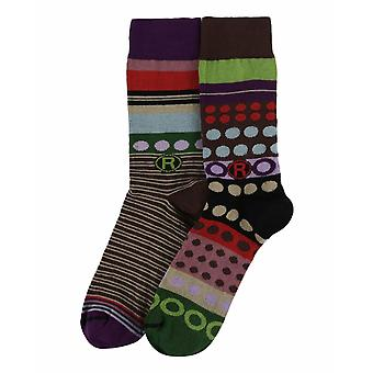 Circles Gift Pack | 2 pairs of men's crazy cotton dress socks by Dub & Drino