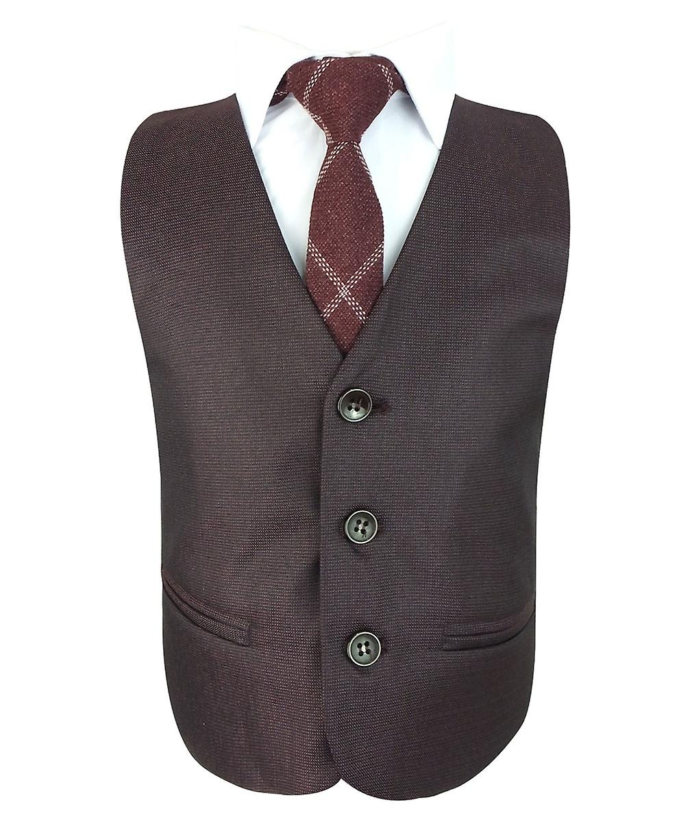 top-rated latest elegant and sturdy package factory price Boys Tailored Fit Burgundy 6 Piece Complete Suit Set