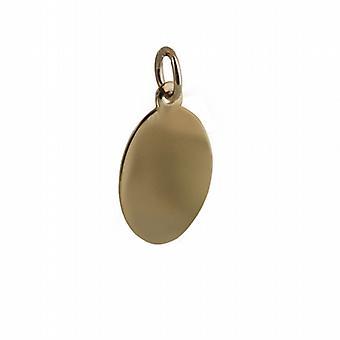 18 k Gold 16x11mm schlicht ovale Scheibe