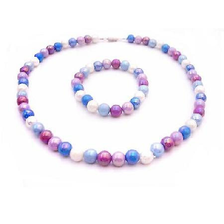 Girls Return Gift Multicolor Beads Necklace Stretchable Bracelet