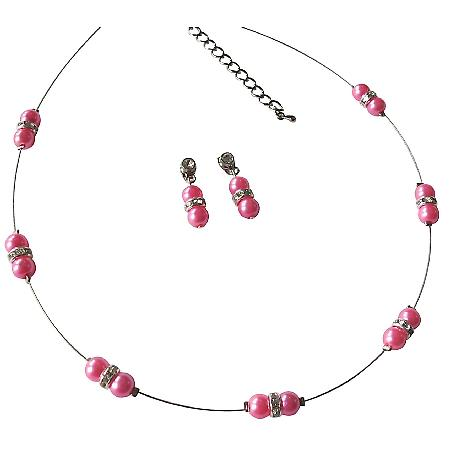 Floating Hot Pink Illusion Necklace with Earrings Pretty Jewelry