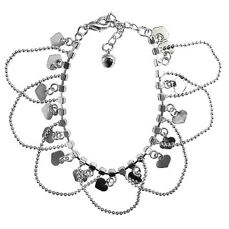 Heart Charm Dangling Bracelet Diamante Elegant Gift Affordable Jewelry