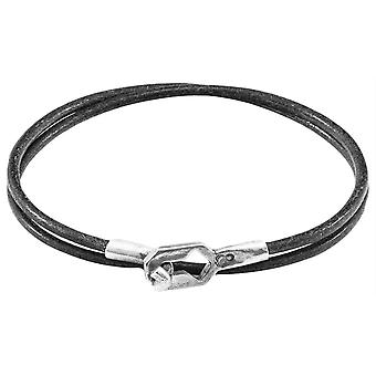 Anchor and Crew Tenby Round Leather Bracelet - Shadow Grey