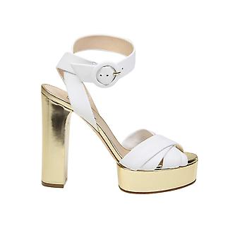 Casadei White/gold Leather Sandals
