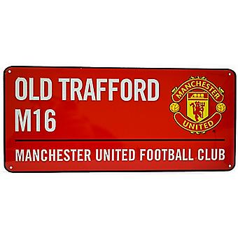 Manchester Utd FC Old Trafford (red) metal street sign (bb)