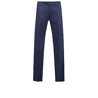 Dobell Mens Twilight smoking blu pantaloni Regular Fit della banda laterale in raso