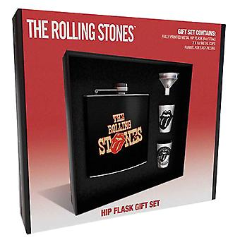 The Rolling Stones Hip Flask Set Classic Tongue Band Logo new Official Black