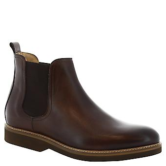 Leonardo Shoes Man's handmade chelsea boots in brown leather