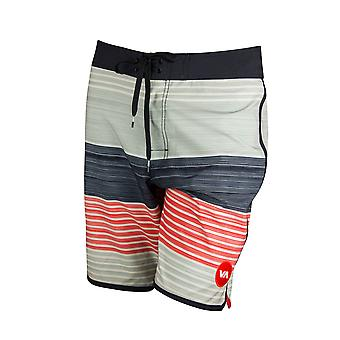 RVCA Mens VA Sport Sunday Stripe Trunk Boardshorts- Silver Gray/Black