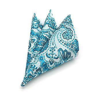 Turquoise green china paisley pattern pocket square