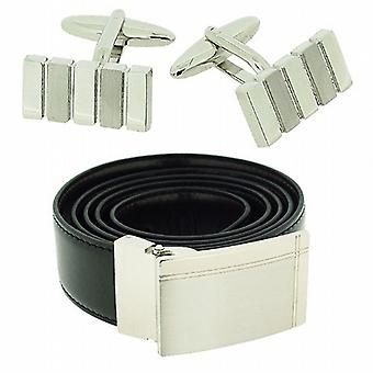 Harvey Makin Gents Silvertone Brushed & Polished Cufflinks & Black Belt Gift Set