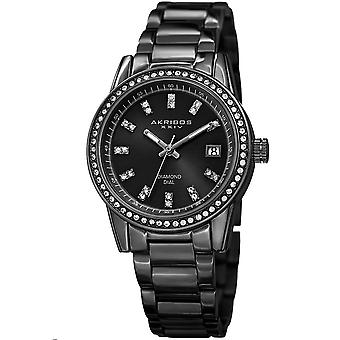 Akribos XXIV Women's Genuine Diamond and Crystal Stainless Steel Bracelet Watch AK928BK