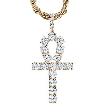 Iced out bling Ankh pendant - cubic zirconia cross rose gold