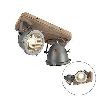QAZQA proyector robusto 2 quemada de acero con Base de madera - Emado