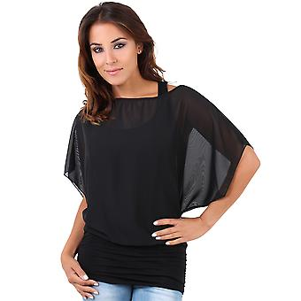 KRISP Womens Oversize Chiffon Mesh Batwing Twin Jersey Weste 2in1 Top Bluse Party