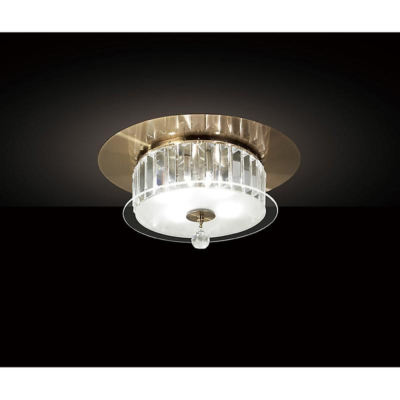 Tosca Ceiling Round 4 Light Antique Brass glass crystal
