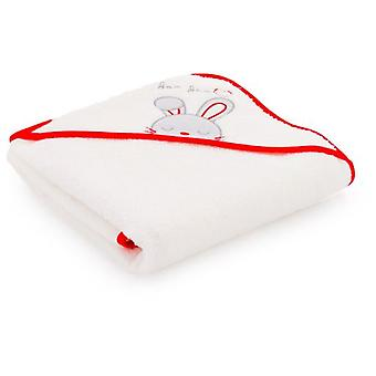 Naf Naf Hooded Towel 100% Cotton mitten and Embroidery Red Rabbit