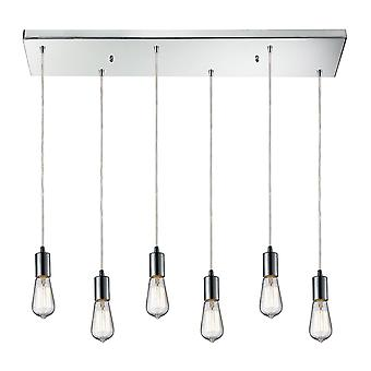 Menlow park 6-light rectangular pendant fixture in polished chrome elk lighting