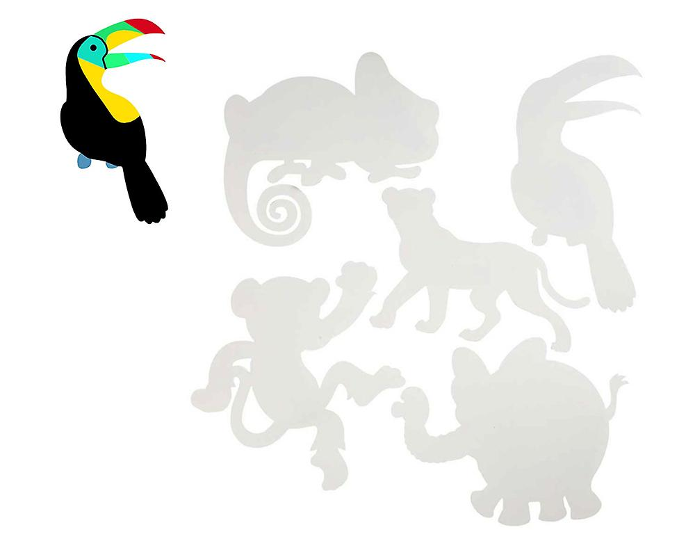 16 Large White Card Jungle Animal Shapes for Kids Crafts