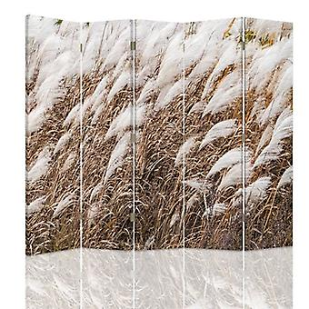 Room Divider, 5 Panels, Double-Sided, 360 ° Rotatable, Canvas, Dry Grass