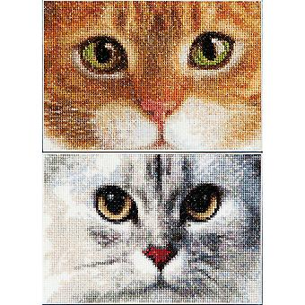 Chats tigre + Kitty sur Aida compté point de croix Kit-6.75 « X4.75 » comte 16 Set de 2 TG540A