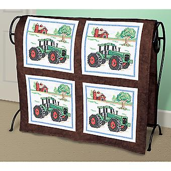 Tractor Quilt Blocks Stamped Cross Stitch 15