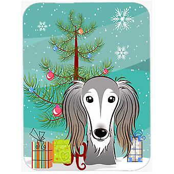 Christmas Tree and Saluki Glass Cutting Board Large BB1601LCB