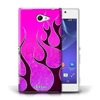 STUFF4 Case/Cover for Sony Xperia M2/Pink/Purple/Flame Paint Job