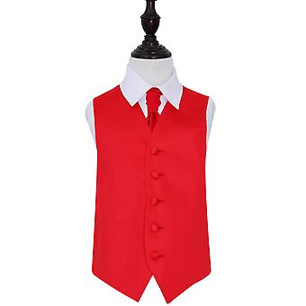 Boy's Red Plain Satin Wedding Waistcoat & Cravat Set
