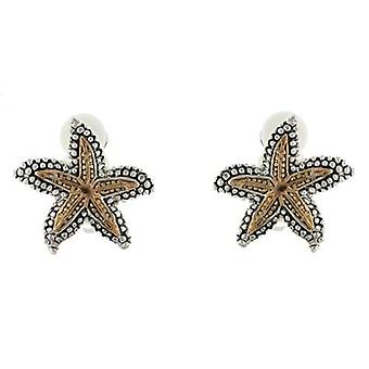 Clip On Earrings Store Gold and Silver Marcasite Starfish Clip On Earrings
