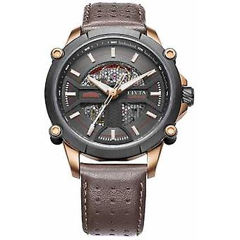 FIYTA Mens Brown Leather Strap Black Dial WGA866001.MBR Watch