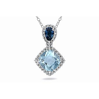 Affici 18ct White Gold Plated Sterling Silver Pendant with Chain ~ Blue Topaz & Sapphire CZ Gems