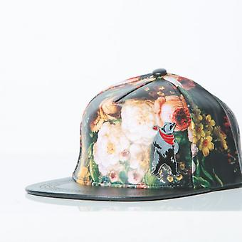 Polar whites floral print faux leather cap