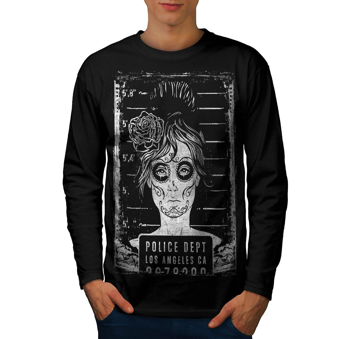 LA Police Dept Zombie LA Girls Men Black Long Sleeve T-shirt | Wellcoda