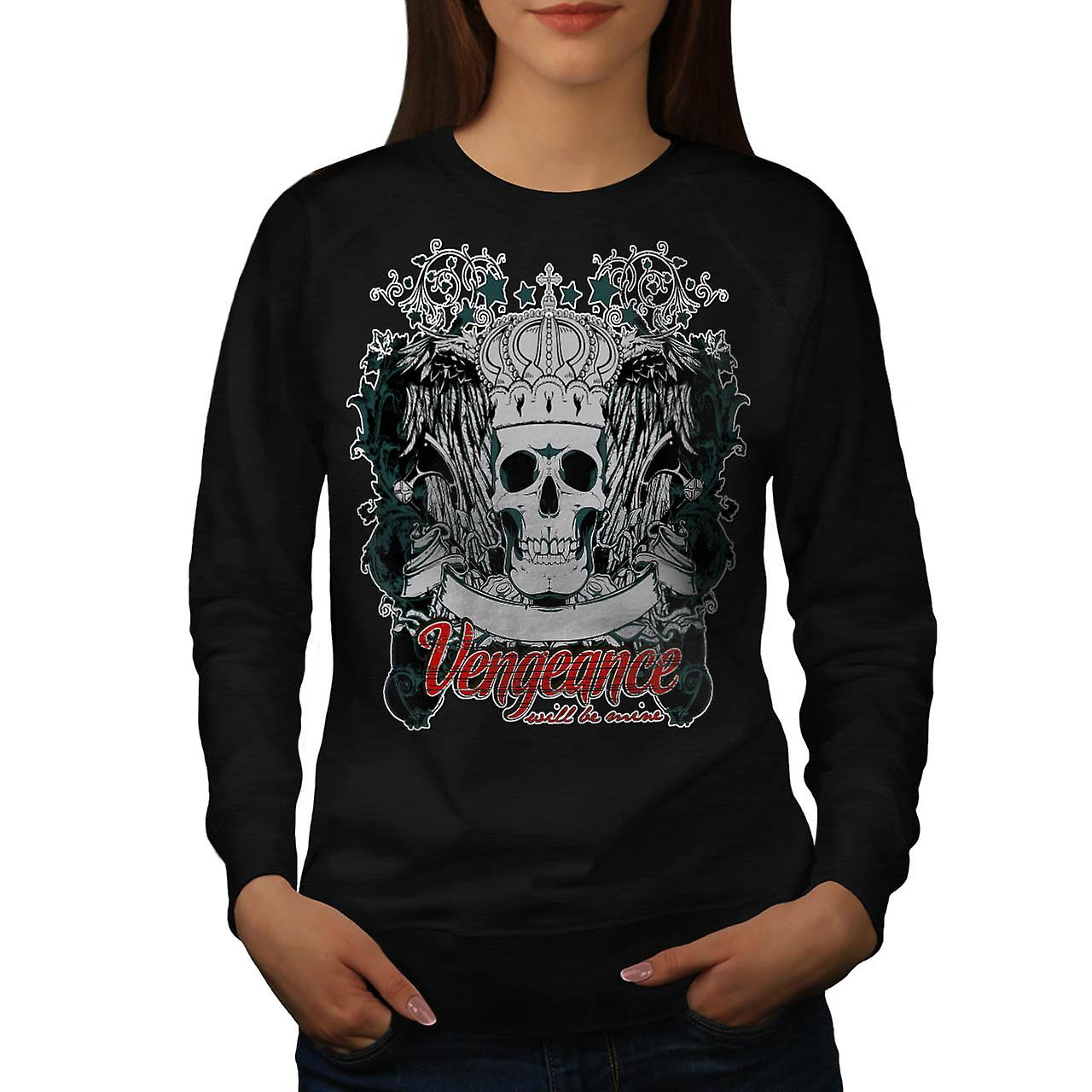 Vengeance Be Mine Skull Women Black Sweatshirt | Wellcoda