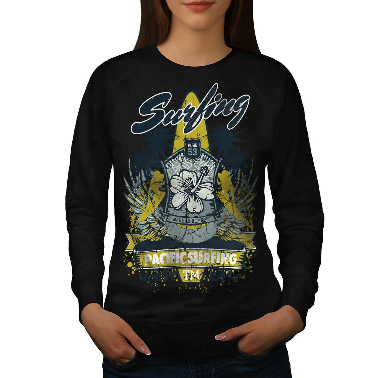 Pacific Surfing Beach West øst kvinner svart Sweatshirt | Wellcoda
