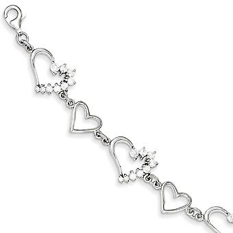 Sterling Silver CZ Journey Bracelet - 7 Inch - Lobster Claw