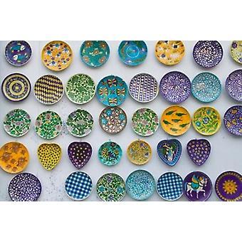 Ceramica piatto decorazione su parete Jaipur Rajasthan India Poster stampa di Keren Su