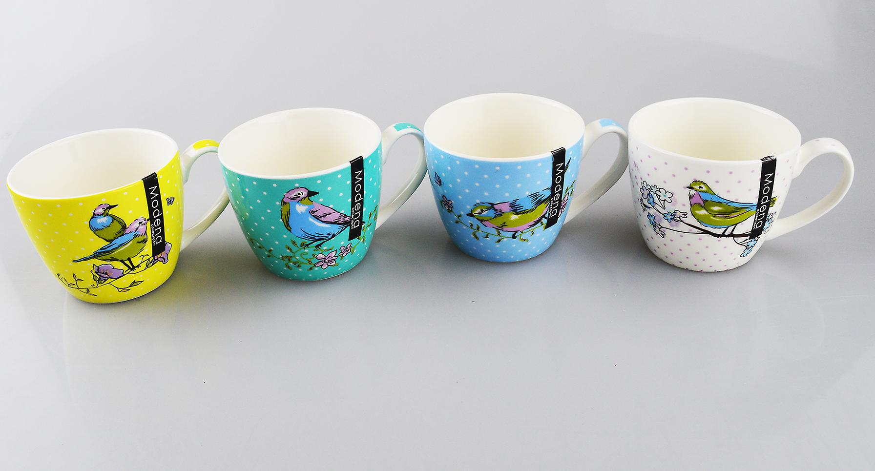 New Bone China Mugs Set of 4 Bird Design Tea Coffee Home Kitchen Office Cups
