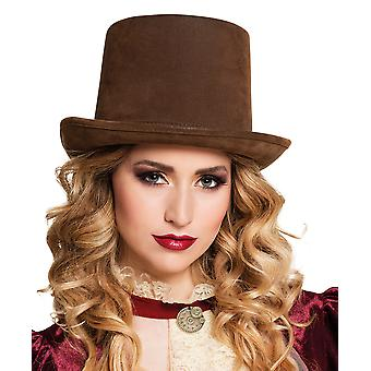 Boland BV Brown Suede Victorian Style Steamtopper Deluxe Top Hat Fancy Dress Accessory