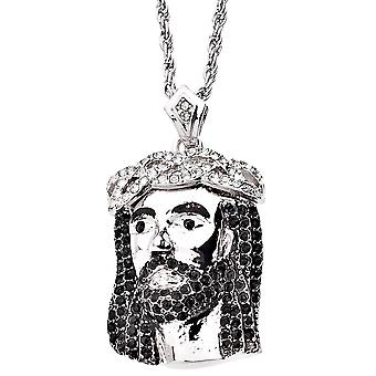 Iced out bling religion Jesus pendant - OPENED EYES silver
