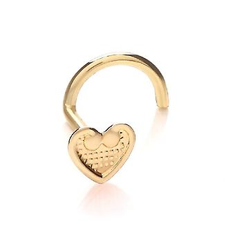 Nose Stud Screw Piercing 9 ct Yellow Gold, Body Jewellery, Vintage Heart