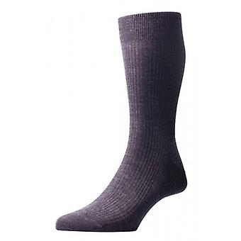 Pantherella Naish Rib Merino Wool Socks - Charcoal