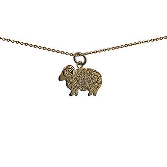 9ct Gold 20x14mm Sheep Pendant with a cable Chain 16 inches Only Suitable for Children