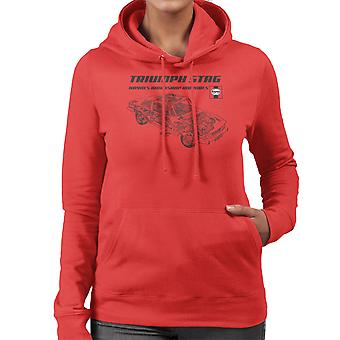 Haynes Workshop handmatige 0441 Triumph Stag zwarte vrouwen Hooded Sweatshirt