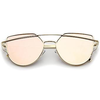 Small Metal Frame Thin Temple Color Mirror Flat Lens Aviator Sunglasses 54mm
