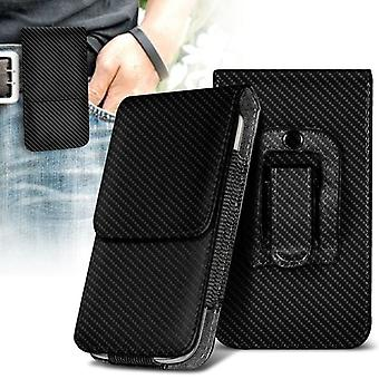 BlackBerry Priv Vertical Faux Leather Belt Holster Pouch Cover Case (Carbon)