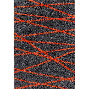 Grafit & Orange geometrisk Shaggy tæppe - Helsinki