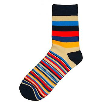 Bassin and Brown Medium and Thin Stripe Midcalf Socks - Navy/Red/Beige