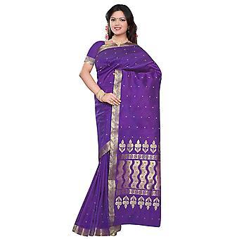 Púrpura - Benares arte seda Sari / sari/Bellydance tela (India)